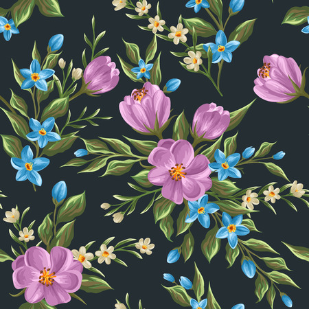 Gentle floral seamless pattern in watercolor style Vector
