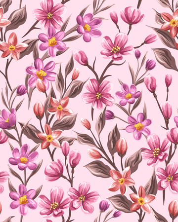 Floral seamless pattern with small pink flowers in watercolor style
