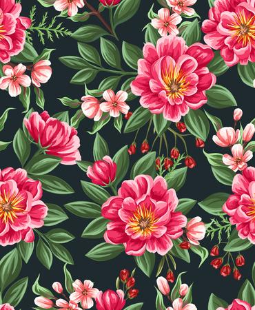 水彩風の美しい花のシームレス パターン  イラスト・ベクター素材