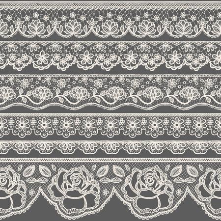 lineas decorativas: Conjunto de las fronteras de encaje transparente Vectores