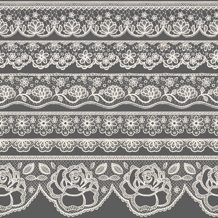 flower borders: Set of seamless lace borders