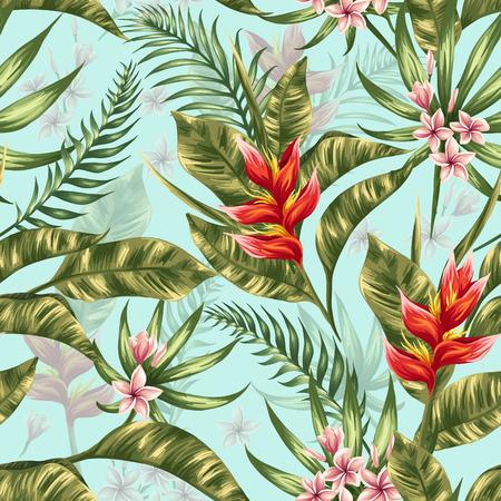 selva: Patrón sin fisuras con flores tropicales en estilo de la acuarela