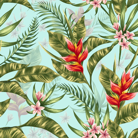 tropical leaves: Seamless pattern with tropical flowers in watercolor style