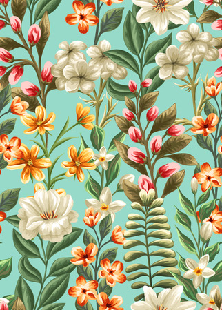 Floral seamless pattern with flowers and leaves on blue background in watercolor style