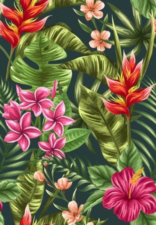 水彩風のハイビスカス、プルメリア、ヘリコニアの花を持つ熱帯花柄シームレス