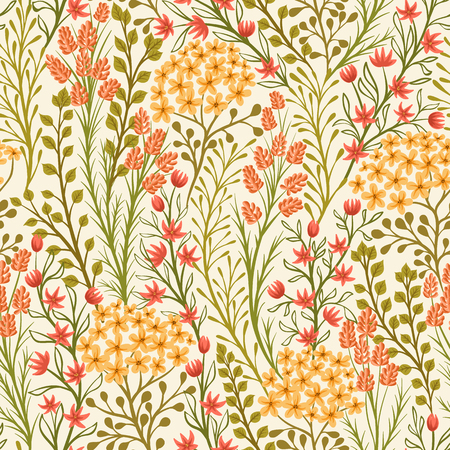 ornamental garden: Seamless pattern with small flowers and leaves