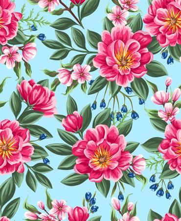 florales: Patr�n sin fisuras con las flores hermosas en estilo de la acuarela