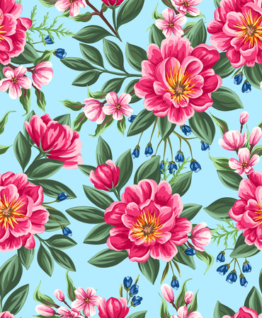 Seamless pattern with beautiful flowers in watercolor style Banco de Imagens - 45581763