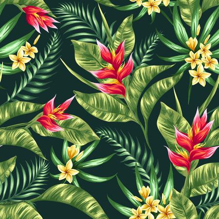 수채화 스타일의 열대 꽃과 원활한 패턴 일러스트