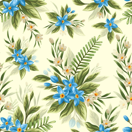 beautiful flowers: Seamless pattern with beautiful flowers in watercolor style
