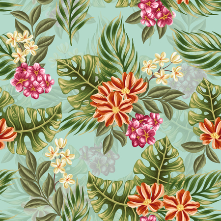 textiles: Floral seamless pattern with pink, white and red flowers and leaves on blue background.