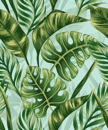 シュロの葉とシームレスなパターン  イラスト・ベクター素材