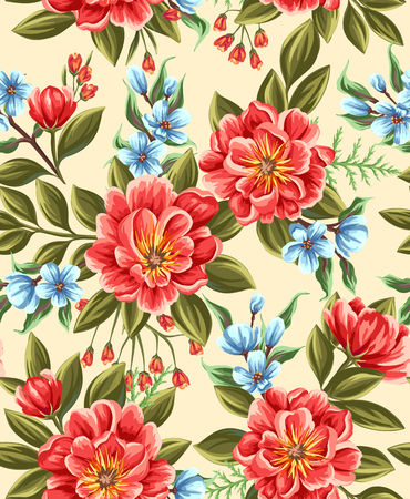 Seamless pattern with beautiful flowers in watercolor style.  イラスト・ベクター素材