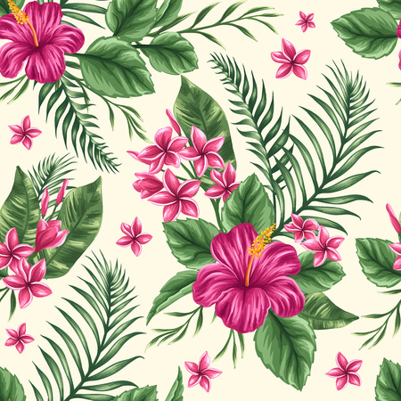 palm leaf: Tropical floral seamless pattern with plumeria and hibiscus flowers