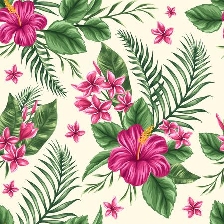ibiscus: Tropical motivo floreale senza soluzione di continuit� con plumeria e fiori di ibisco Vettoriali
