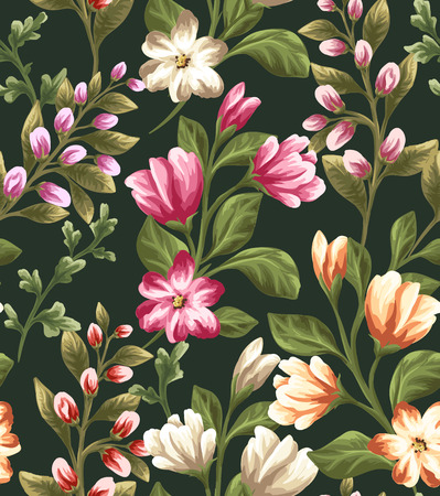 Floral seamless pattern with different flowers on dark background in watercolor style