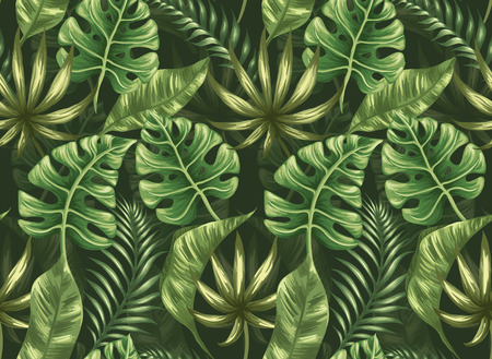 Seamless pattern with palm leaves stylized like watercolor Vettoriali