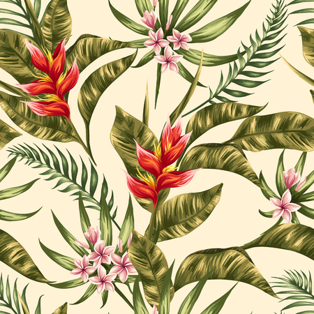 botanical: Tropical floral seamless pattern with plumeria and hibiscus flowers