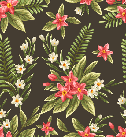 the season of romance: Seamless pattern with beautiful flowers in watercolor style