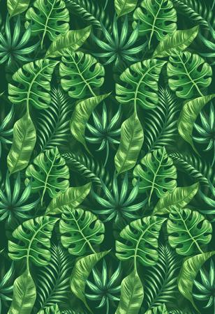 シームレス パターン熱帯のヤシを葉します。  イラスト・ベクター素材
