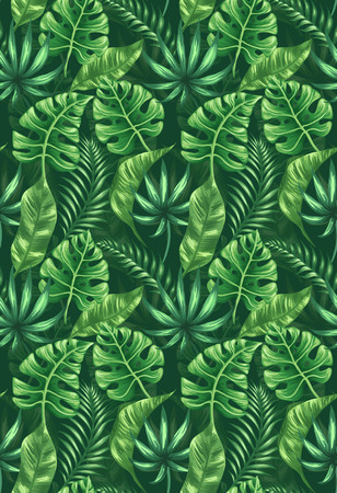 Seamless pattern with tropical palm leaves Ilustração