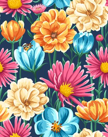 明るい花と春のシームレス パターン