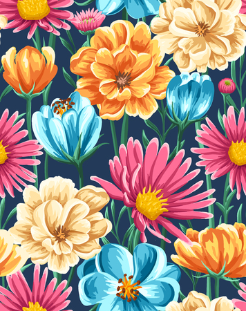 Spring seamless pattern with bright flowers