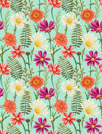pink floral: Spring seamless pattern with bright flowers