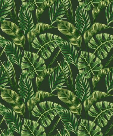 tropicale: Seamless avec des feuilles de palmiers