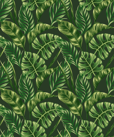 tropical forest: Seamless pattern with palm leaves
