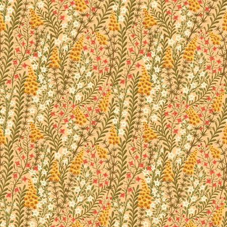 textile image: Floral seamless pattern with lot of small flowers and leaves.