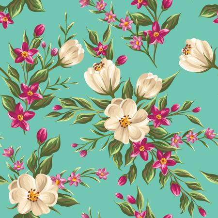밝은 꽃과 함께 봄 원활한 패턴 일러스트
