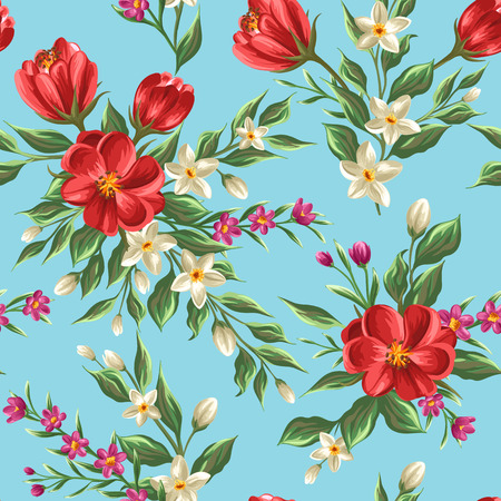 plant design: Floral seamless pattern with flowers and leaves on blue background in watercolor style