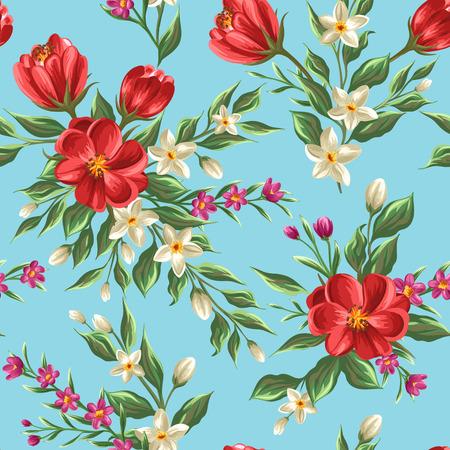 dibujos de flores: Modelo inconsútil floral con flores y hojas sobre fondo azul en el estilo de la acuarela