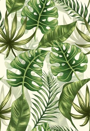 impresión: Modelo inconsútil con las hojas de palma Vectores