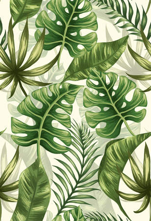 jungle green: Seamless pattern with palm leaves