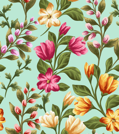 colorful flowers: Seamless pattern with beautiful flowers in watercolor style