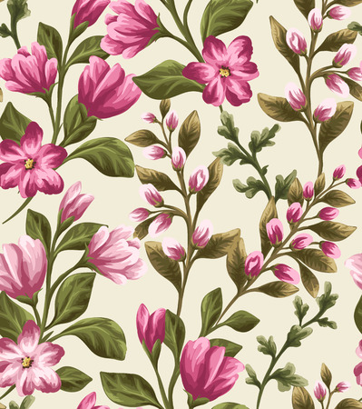 beige background: Seamless pattern with beautiful flowers in watercolor style