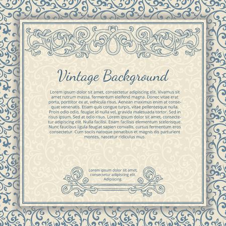 vintage border: Vintage background with flourish border