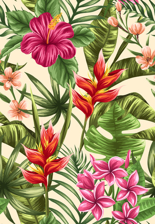 jardines con flores: Tropical Modelo inconsútil floral con plumeria y flores de hibisco Vectores