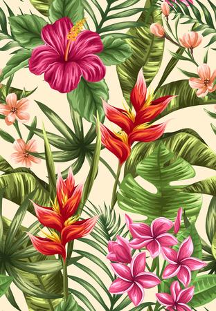 hibiscus: Tropical Modelo inconsútil floral con plumeria y flores de hibisco Vectores