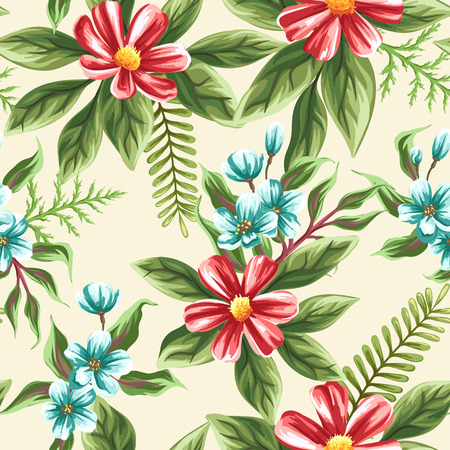 flowers on white: Floral seamless pattern with flowers and leaves on beige background in watercolor style