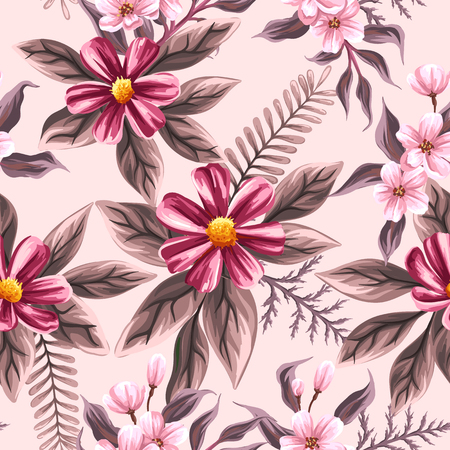 Floral seamless pattern withpink flowers Illustration