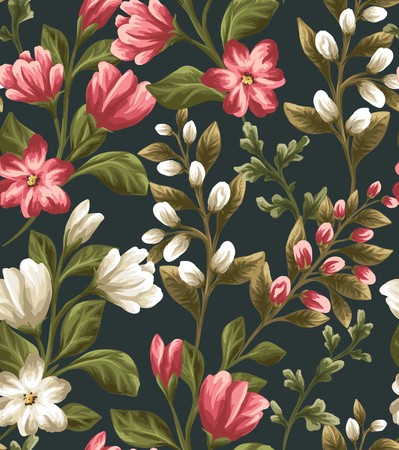 romance: Floral seamless pattern with white and red flowers on dark background in watercolor style Illustration
