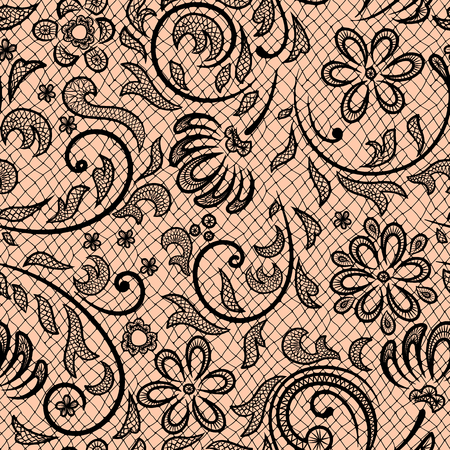 pink and black: Beautiful floral pattern stylized like laces