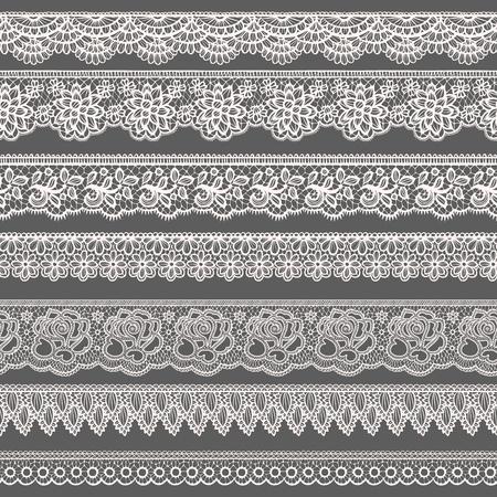 encaje: Conjunto de fronteras decorativas estilizado como cordones Vectores