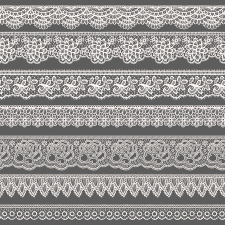 verschnörkelt: Reihe von dekorativen Grenzen stilisiert wie Schnürsenkel Illustration