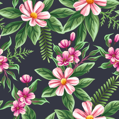 Floral seamless pattern with flowers and leaves on dark background in watercolor style