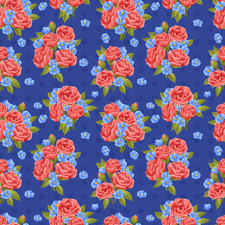 red rose bouquet: Seamless pattern with beautiful red roses in watercolor style Illustration