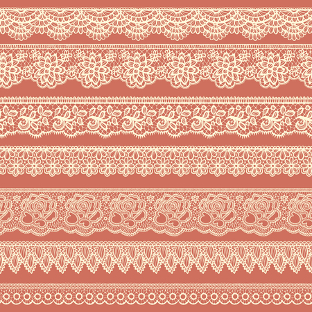 Collection of beige borders stylized like laces Illustration